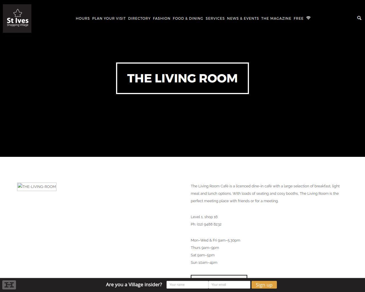 Website THE LIVING ROOM CAFE
